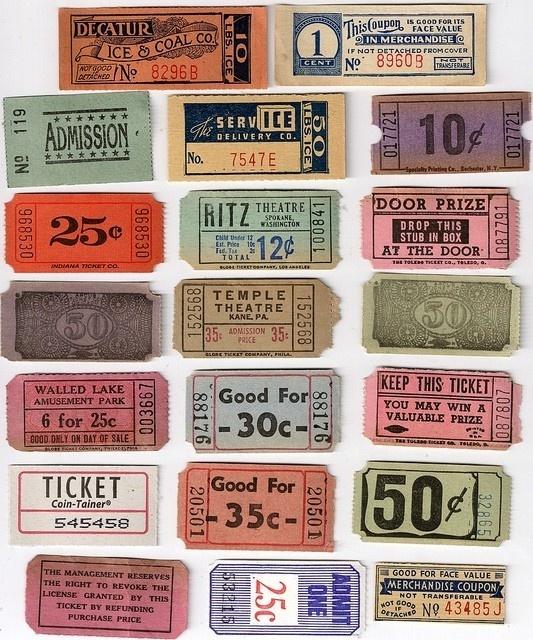 Vintage tickets #tickets #vintage #typography