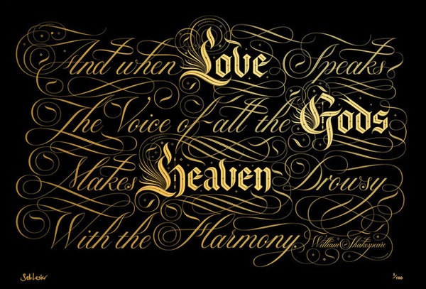 The Voice of all the Gods #calligraphy #lester #lettering #script #ornate #swashes #shakespeare #seb #blackletter #typography