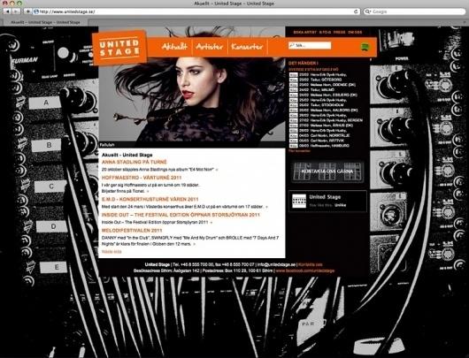 HFDP - United Stage hemsida #design #orange #black #music #web