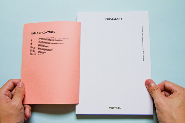 Miscellany Vol. 01 #formats #collaborate #various #lasalle #experimental #book #publication #trends #transpire #collaboration #layout #singapore #editorial