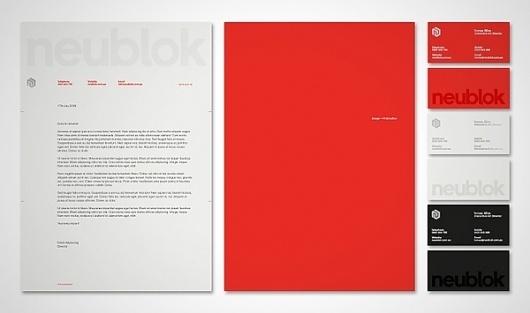 Neublok Branding on the Behance Network #white #red #design #minimalism #black #corporate #identity #minimal #letterhead