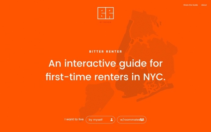 Bitter renter NYC new york city first time rent guide webdesign website minimal beautiful best modern cool mindsparkle mag site of the day a
