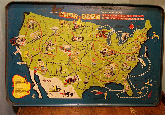 Mid Century United States Map Play Tray by Endless Treasures NJ contemporary kids decor #illustration #mid #maps #century