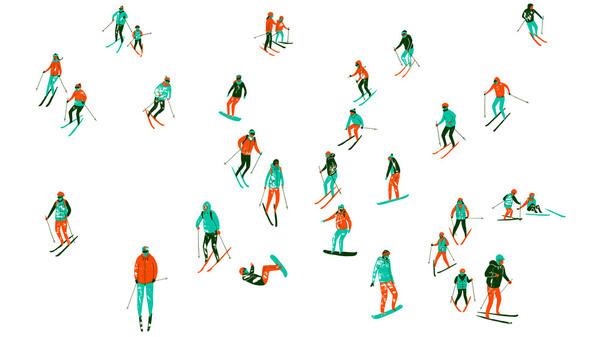 Illustration Archive harrydrawspictures #pattern #ski #skiing #people #illustration