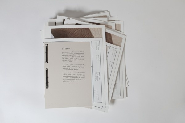R J Scott #binding #branding #letterpress #book #publication #bronze #furniture #natural #identity #brown #gold #stationery #passport #logo