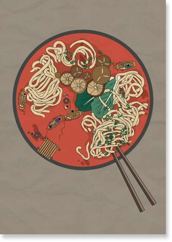 Dot by Jing Zhang #soup #noodle #illustration #pill #poster