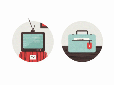Icons #suitcase #television #icons #vintage #document #tv