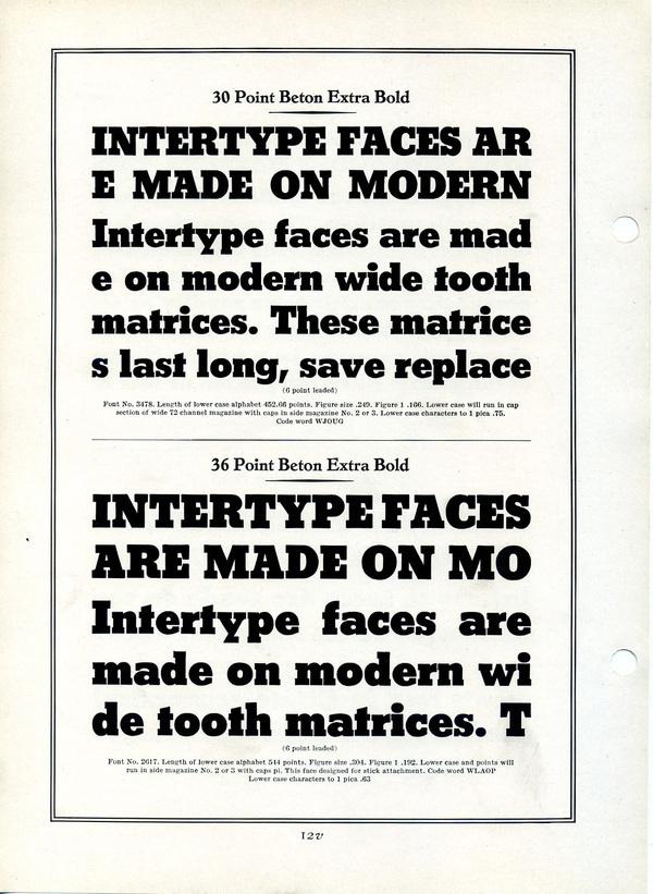 This is a specimen of the Intertype version of Heinrich Jost's Beton Extra Bold. #type #specimen #typography
