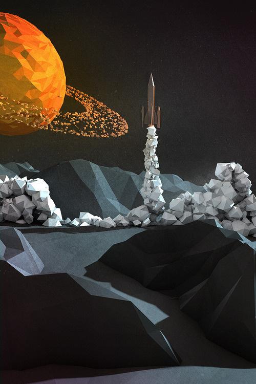 Lift Off #c4d #planet #ship #rocket #3d