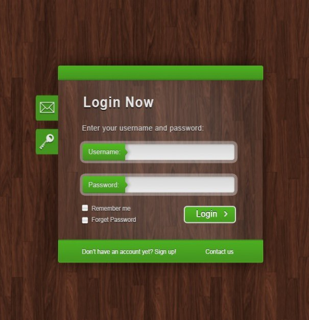 Green login form on wood texture Free Psd. See more inspiration related to Texture, Wood, Green, Wood texture, Text, Buttons, Form, Psd, Login, Vertical, Input and Text input on Freepik.