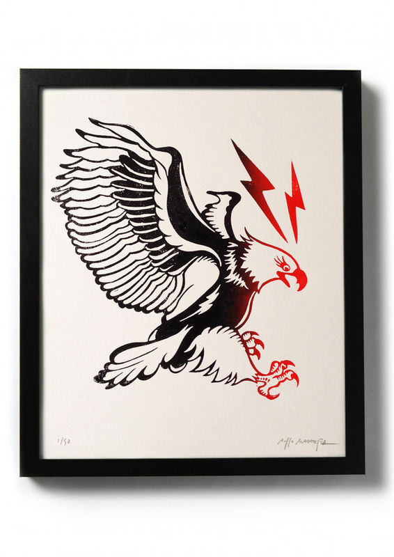 EAGLE - Original relief. Hand printed. - product images of #ink #printmaking #print #design #drawing #tattoo #illustration #traditional #art #diy #linocut