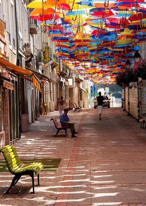 CJWHO ™ (Hundreds of Floating Umbrellas Once Again Cover...) #festival #installation #design #portugal #landscape #photography #art