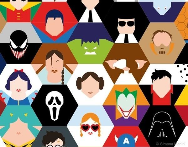 Hexgonal superheroes #illustration #vector #art