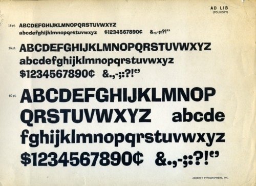 Daily Type Specimen | Ad Lib was designed in 1961 by Freeman Craw for... #type #specimen #typography
