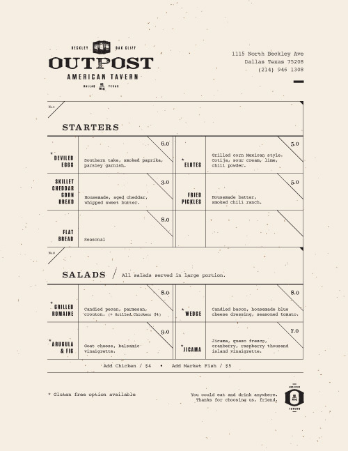 Art of the Menu: Outpost #layout #menu