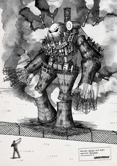 Greenpeace: Become David, 3 | Ads of the World™ #illustration #anatolij #pickmann #advertising