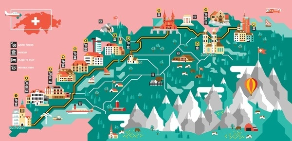 GQ Swiss Watch Tour Always With Honor #geometric #map #illustration #building #minimal
