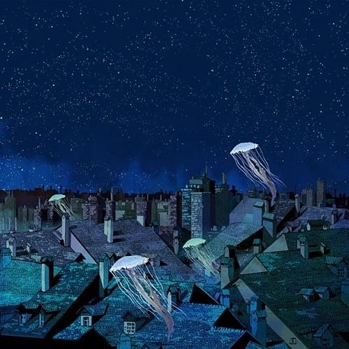 this isn't happiness.™ #night #jellyfish #painting