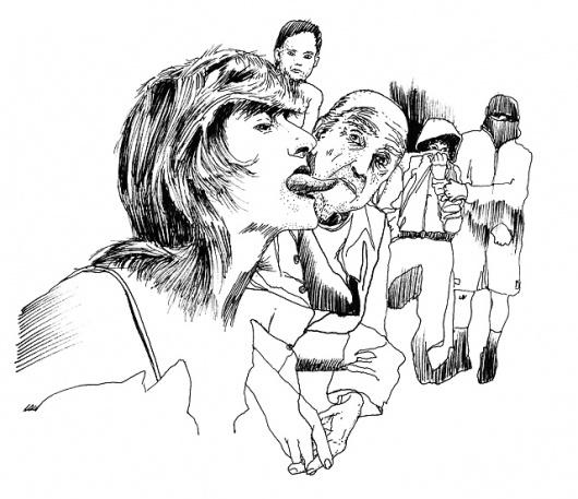 sktch_001.jpg 640×552 pixels #old #woman #dirty #eros #erotic #homo #illustration #men #kids #children #fun #sex #kiss