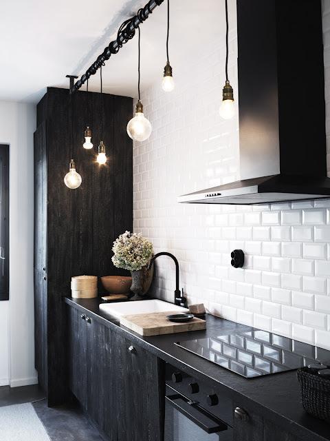 Modern Man #bulbs #white #black #kitchen #minimal #and