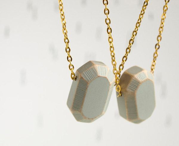 wood Diamond. geometric necklace. concrete grey faceted pendant on gold tone chain. Handcrafted wooden gemstone. #jewellery