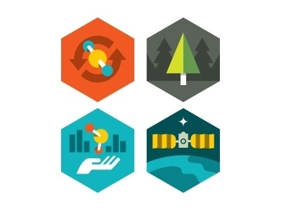Dribbble - NASA Carbon Monitoring System badges by Eric R. Mortensen #carbon #nasa #icons #space #eric #atom #mortensen