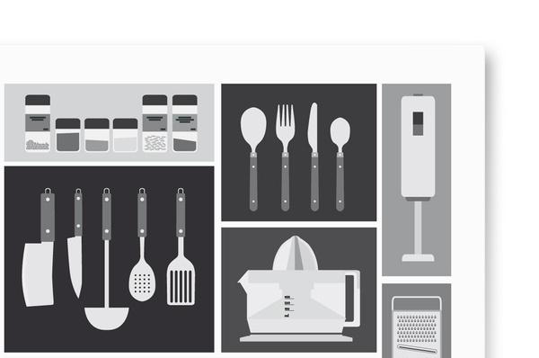 Kitchen Utensils #white #black #kitchen #poster #and