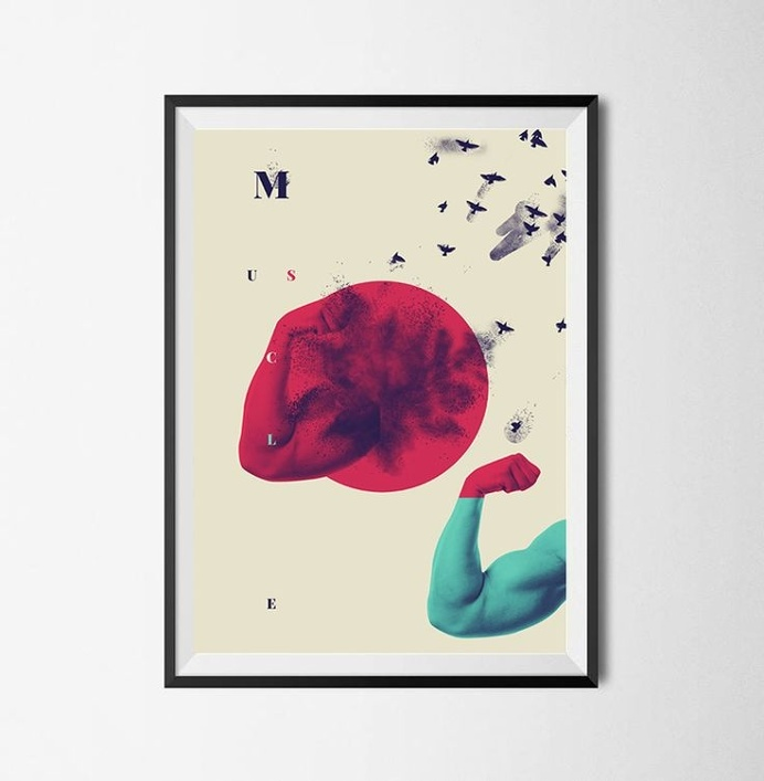 M u S c L e / / 0 4 Is a personal collage composition, mixing static and no static elements, as human arms, birds and geometric shapes, wo