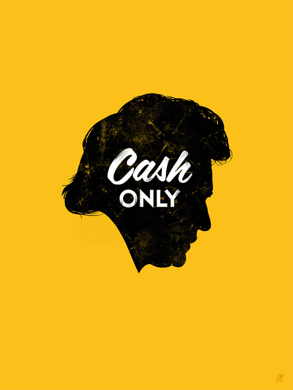Cash Only - by Chad Gowey #cash #johnny #minimal #typography