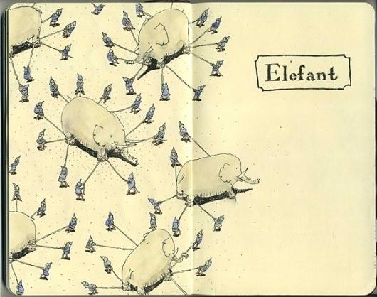 Moleskine Sketches by Mattias Adolfsson | Best Bookmarks #moleskine #sketch #elephant