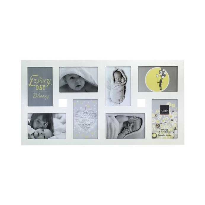 Collage Photo Frame - White Multi , 4 cm x 15 cm - Set of 8