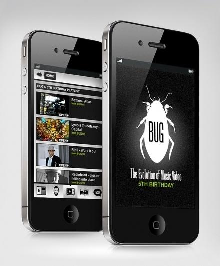 Interactive - BUG Music Videos App - websitesarelovely - Neil Richards - Freelance Digital Designer #design #iphone #app #music #graphics #videos