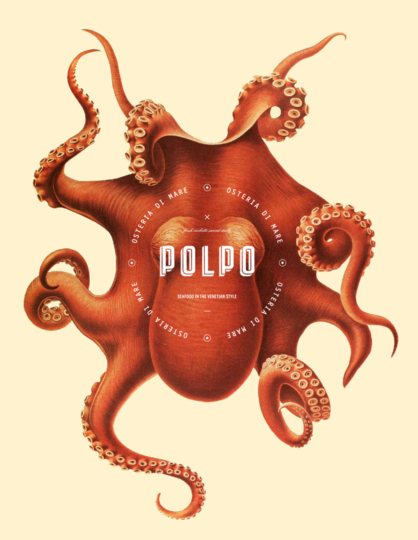 Polpo Restaurant branding by Richard Marazzi