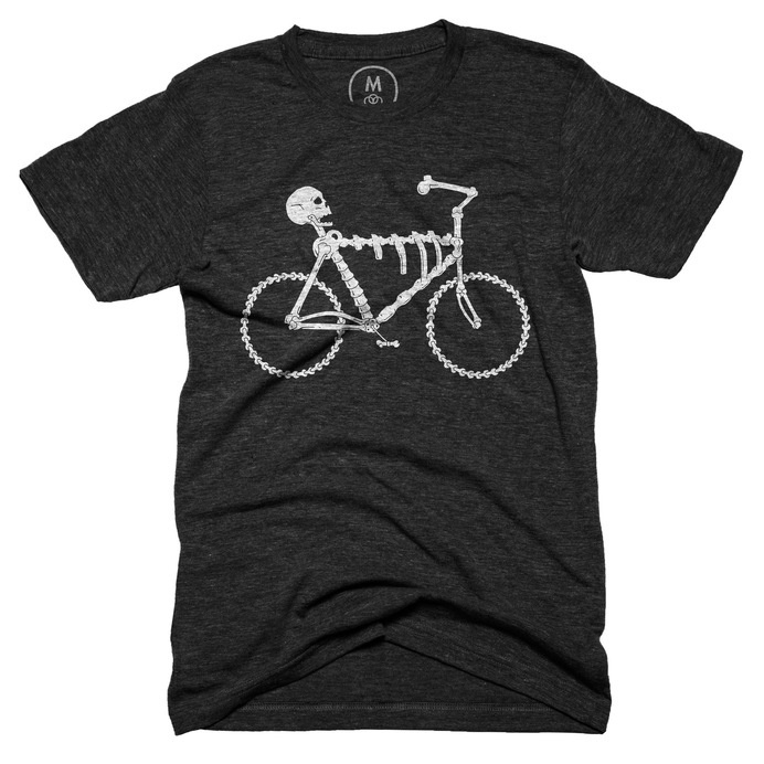t-shirt, apparel, black, bones, bike, simple