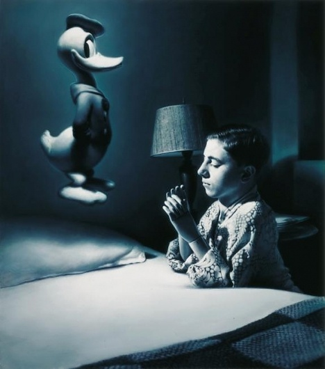 Gottfried Helnwein | WORKS | Mixed Media on Canvas | American Prayer #helnwein #donald #duck #prayer #painting #art #blue