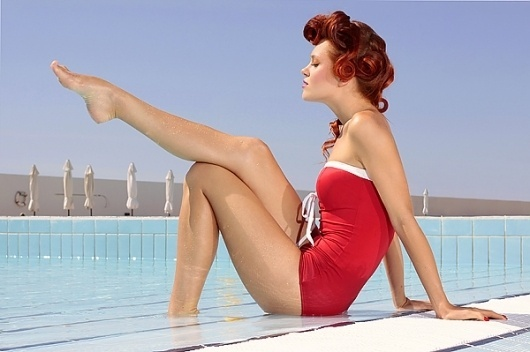 BIG GIRLS by the pool on the Behance Network #girl #big #pool #vintage #swimming