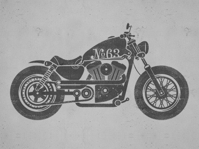 Dribbble - Motorcycle Illustration by Patrick Carter #stamp #harley #sportster #screen #illustration #bike #motorcycle