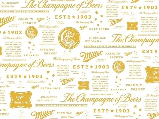 A Shiny New HIGH LIFE | A Continuous Lean. #beer #pattern #logo #gold #type
