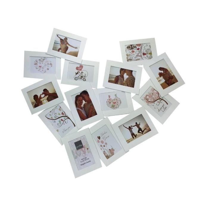 Collage Photo Frame - White Heart 10 cm x 15 cm - Set of 14