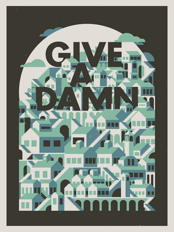 Image of Give A Damn #mezzell #justin #print #black #illustration #blue #green