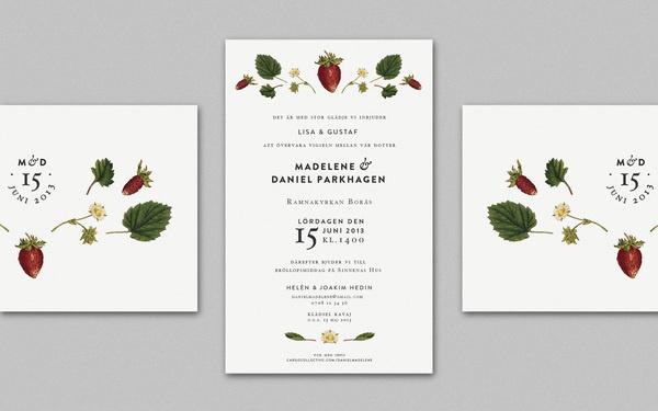 Wedding Invitation, by Cecilia Hedin #invitation #print #strawberry #flower #wedding