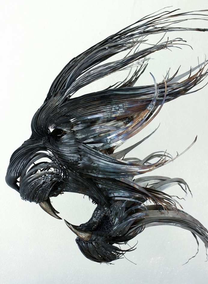 New Hammered Steel Animal Head Sculptures by Selçuk Yılmaz