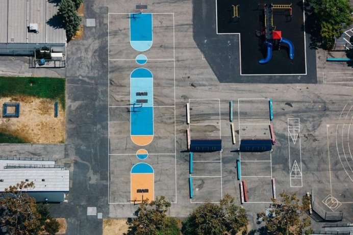 Karl Hab Captures Stunning Views of LA's Tennis and Basketball Courts From Above