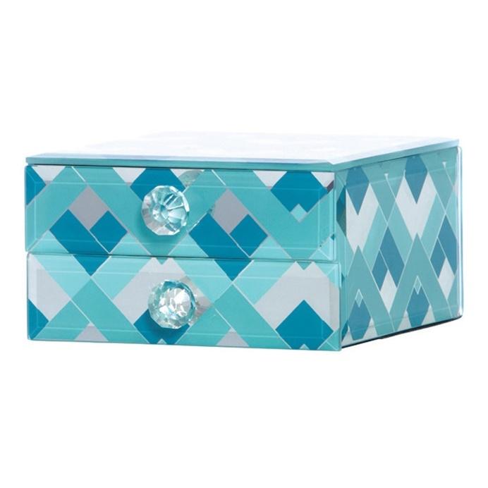Fairview Mint & Teal Chevron Decorative Box, 13 cm