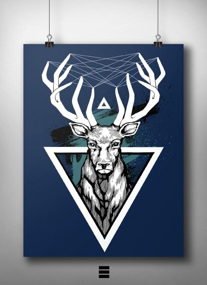 Deer #deer #design #graphic #art #poster