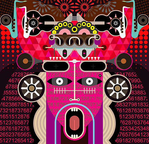 Modern Graphic Art - vector illustration. Abstract portrait of shouting man. #graffiti #pink #horror #musical #digital #crazy #violet #illustration #music #future #fantastic #abstract #guitar #fantasy #red #artwork #purple #technology #psychedelic #acid #mirror #sax #punk #vector #graphic #imagination #dream #portrait #concept #sound #art