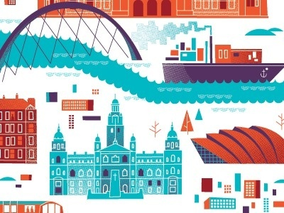 Glasgow Map by Brent Couchman #fuji #cityscape #city #brent #couchman #illustration #tokyo #mt #street #view