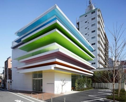 emmanuelle moureaux architecture + design: sugamo shinkin bank shimura branch #rainbow #architecture #colour