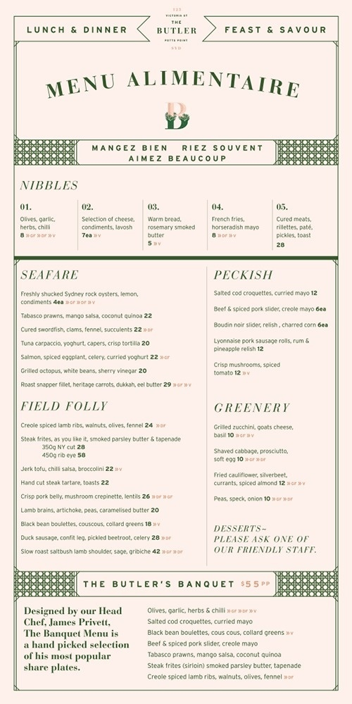 Art of the Menu: The Butler Potts Point #layout