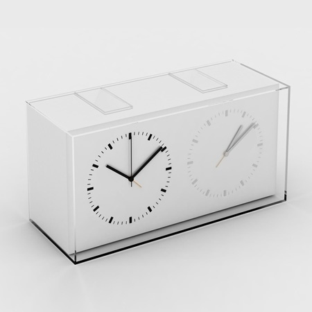 Dezeen » Blog Archive » Home Away Dual Time Alarm Clock by Kit Men #clock #industrial #design